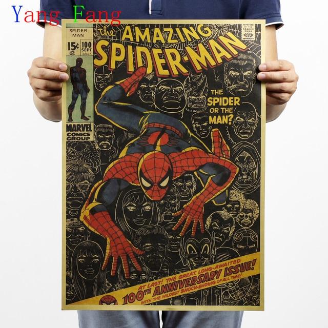 Spider-Man/caricatura clásica/póster de papel kraft retro/Pintura de Bar decorativa vintage 51x35 cm