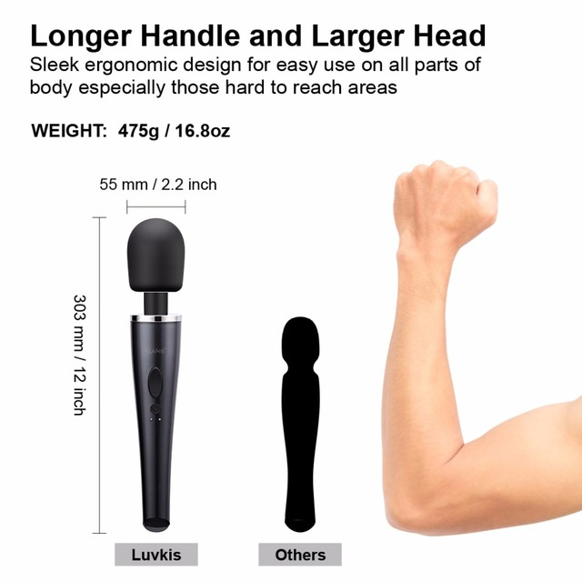 Magic Wand Massager for Women Dimensions Larger Head and Longer Handle