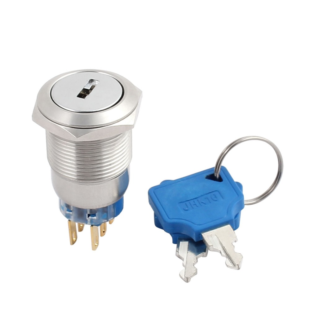 UL 19mm 0.75 Mounting Thread Waterproof Flat Round DPDT Stainless Steel 2NO 2NC Latching Metal Key Switch with 2 keys