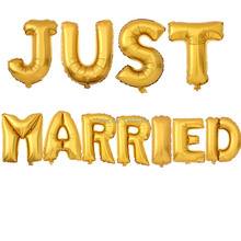 11pcs Gold Silver JUST MARRIED Foil Balloons