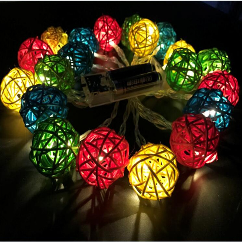 LED Battery String Lights 3M 20pcs color Handmade Rattan Balls led String Lights Fairy Party Wedding light,Patio,Home room Decor