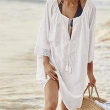 2018 Cotton Tunics for Beach Women Swimsuit Cover up Woman Swimwear Beach Cover up Beachwear Pareo Beach Dress Saida de Praia