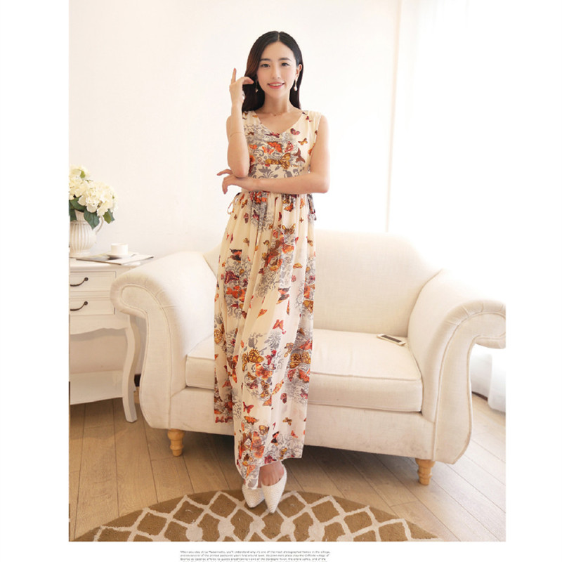3df1266c1fb8 Summer Bohemian Sleeveless Dresses Ladies Chiffon Dress Floral V neck Ankle  Length Women Dress Brand Vestidos-in Dresses from Women's Clothing on ...