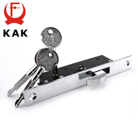 KAK Sliding Door Lock Zinc Alloy Window Locks Anti-Theft Safety Wood Gate Floor Lock With Cross Keys For Furniture Hardware