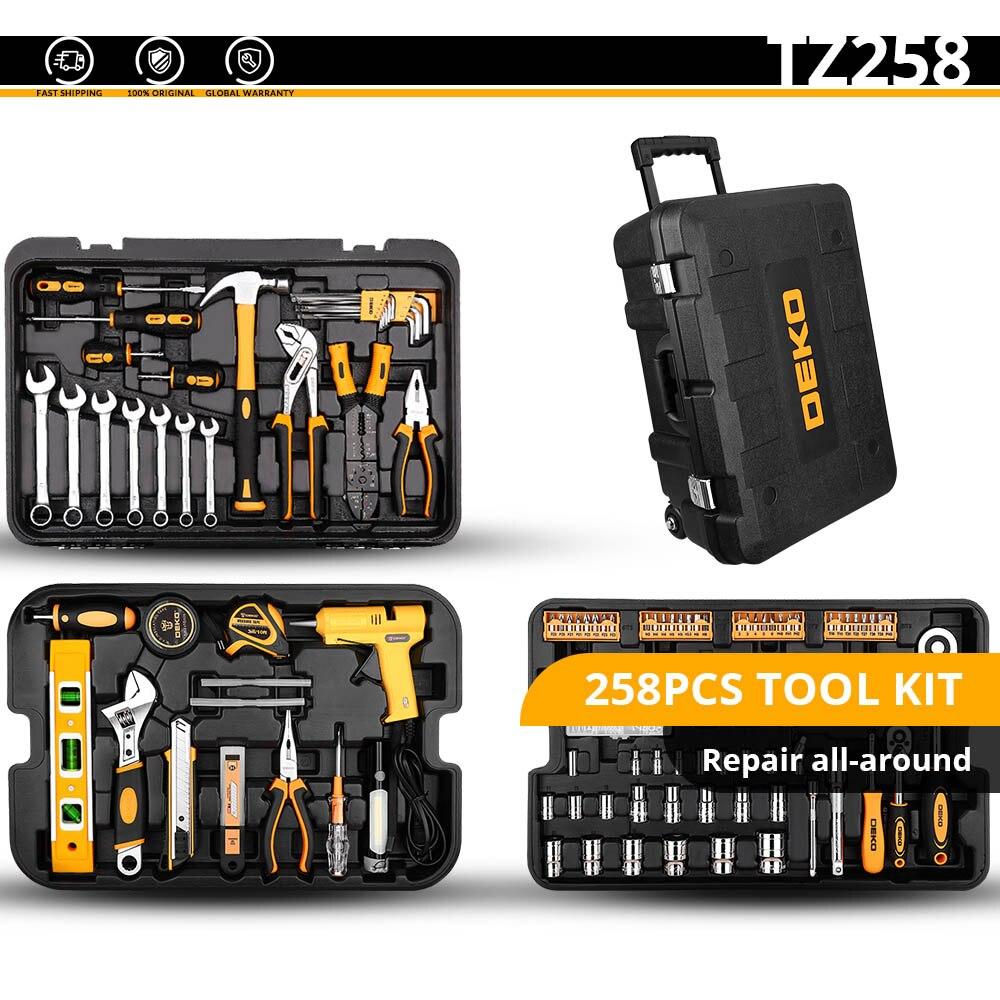 DEKO набор ручных инструментов для домашнего ремонта, набор ручных инструментов с пластиковым ящиком для инструментов, чехол для хранения плоскогубцев, торцевой ключ, пила, отвертка, нож - Цвет: TZ258