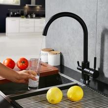 Neu Osmose Wasserfilter Drei weg Wasserhähne Spültischarmatur Schwenk Wasser Reinigung 3 In 1 Küchenarmaturen Matte Schwarz/gebürstetem Nickel