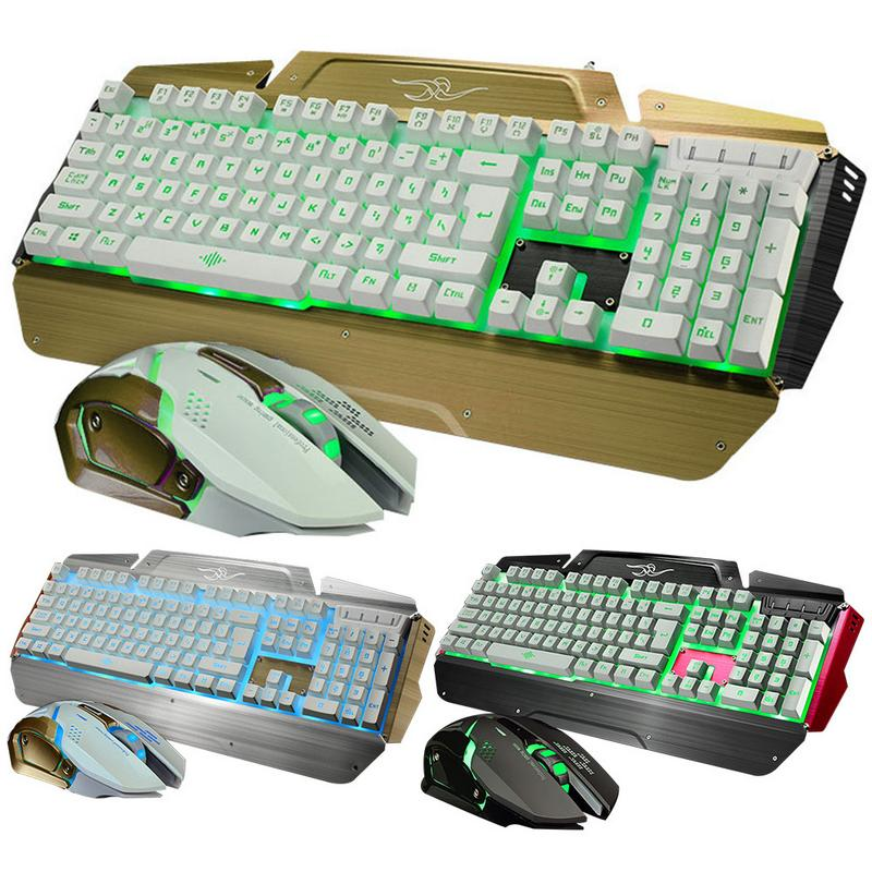 104 Mechanical Touch Mouse And Keyboard Set Usb Metal Backlit Keyboard Wired Office Gaming Mouse And Keyboard Set For PC Laptop redragon gaming keyboard gaming mouse combo 110 key s102 rgb led backlit keyboard and mouse set gaming mouse and keyboard silent