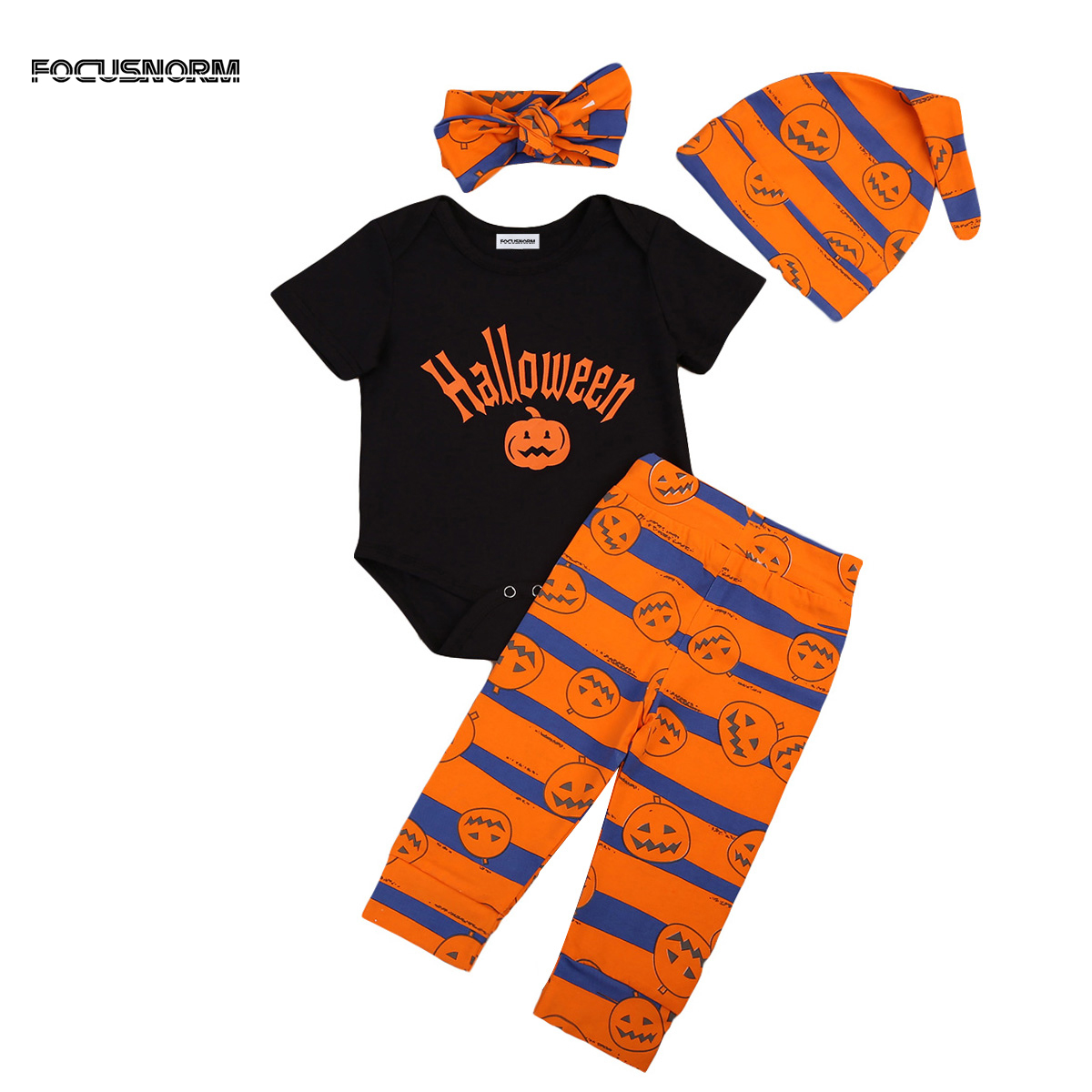 Halloween Newborn Baby Boy Girl Clothes Tops Short Sleeve Romper Pumpkins Stripes Pants Hat 4pcs Outfits Set