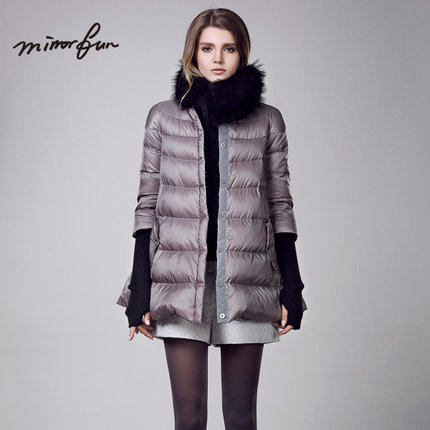 2015 Winter Thicken Warm Woman Down jacket Coat Parkas Outerwear Luxury Raccoon Fur collar Neck Mid Long Plus Size XL Black