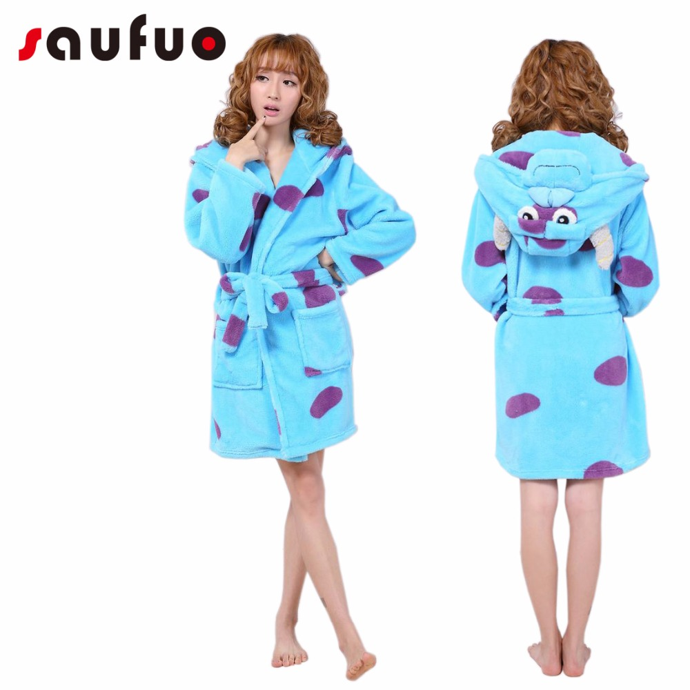 Flannel Women's Robes Cute Character Long Sleeve Hooded