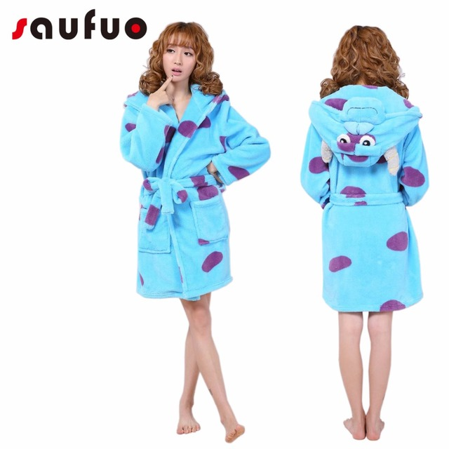 77346436cb Flannel Women s Robes Cute Character Long Sleeve Hooded Robe Sexy Night Robe  Bathrobe Winter Dressing Gowns For Women