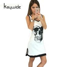 Kaywide New Sexy Party Club Dress Women Casual Sleeveless V-Nexk Black White Skull Print Split Hem Summer Dresses Femme Vestidos