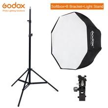 Godox 95 centimetri 37.5 Octagon Softbox Ombrello Luce Del Basamento di Tipo B Hot Shoe Staffa di Supporto Kit per Canon nikon Speedlite Godox Flash