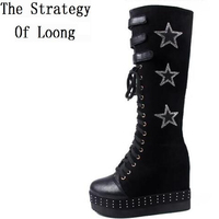 Women Flock Lace Up Height Increasing Long Boots Short Plush Thick Warm Chunky Boots Rivets Embroidery