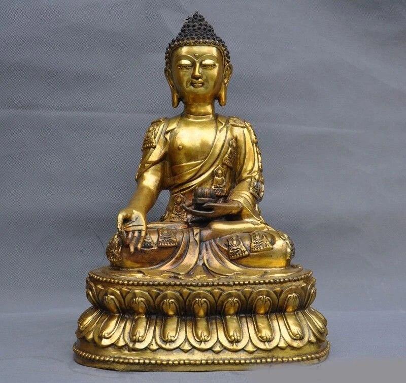 Old Tibet buddhist Bronze Sakyamuni shakyamuni Buddha Statue