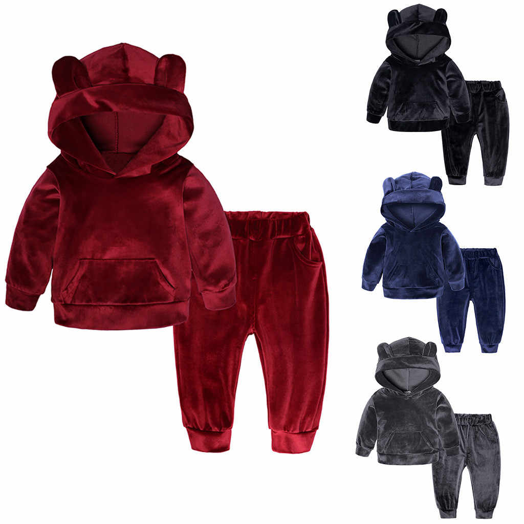 Toddler Kid Baby Girls Boys Set Cotton Long Sleeve Solid Hoodie Tops+Pants Outfits Clothes Set 2019 New Arrival