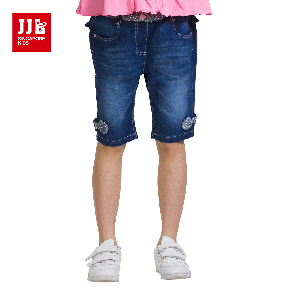 JJL KIDS Summer Cotton Solid Knee Length Jeans Pants for Girls 2018 Children Fashion Casual Bow Jeans Navy Pants for 7-15years summer fashion womens denim pants ripped hole jeans stretch knee length jeans sexy torn femme skinny body jeans
