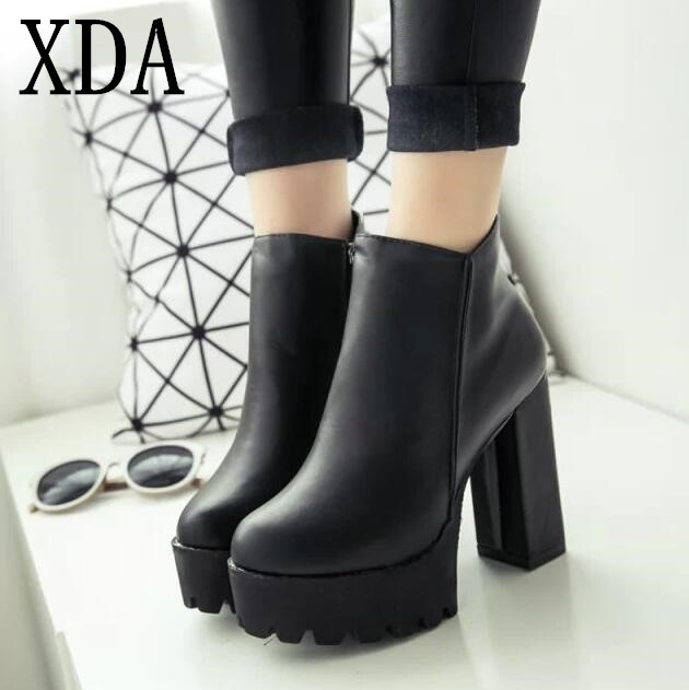 XDA NEW Sexy Ultra High Heels Shoes Woman Female Round Toe Martin Boots Thick Heel Platform Women Shoes Ankle Boots spring and autumn female women short boots shoes martin boots motorcycle boots footwear high heel pumps sexy platform shoes