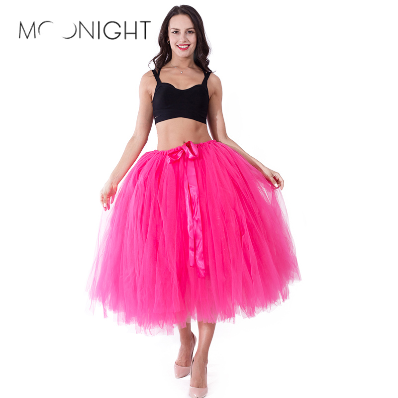 MOONIGHT Sexy Tulle Skirts Womens Tulle Skirt Elastic High Waist Pleated Tutu