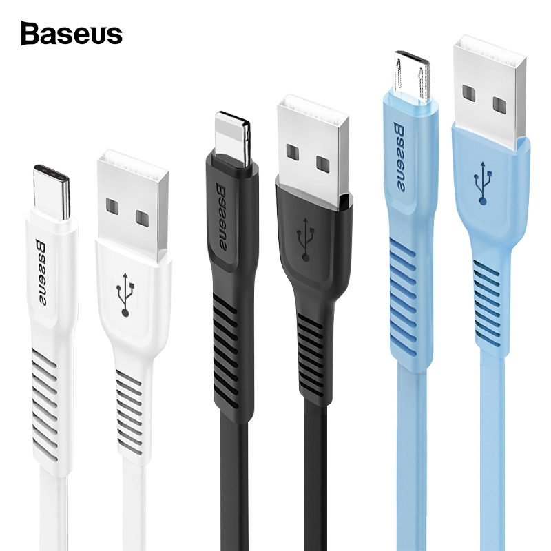 Baseus USB Cable For iPhone XS Max XR X 8 Fast Charging Charger USB-C Cord Micro USB Type C Cable For Android Mobile Phone Cable remax 2 in 1 micro usb cable 1m fast charging
