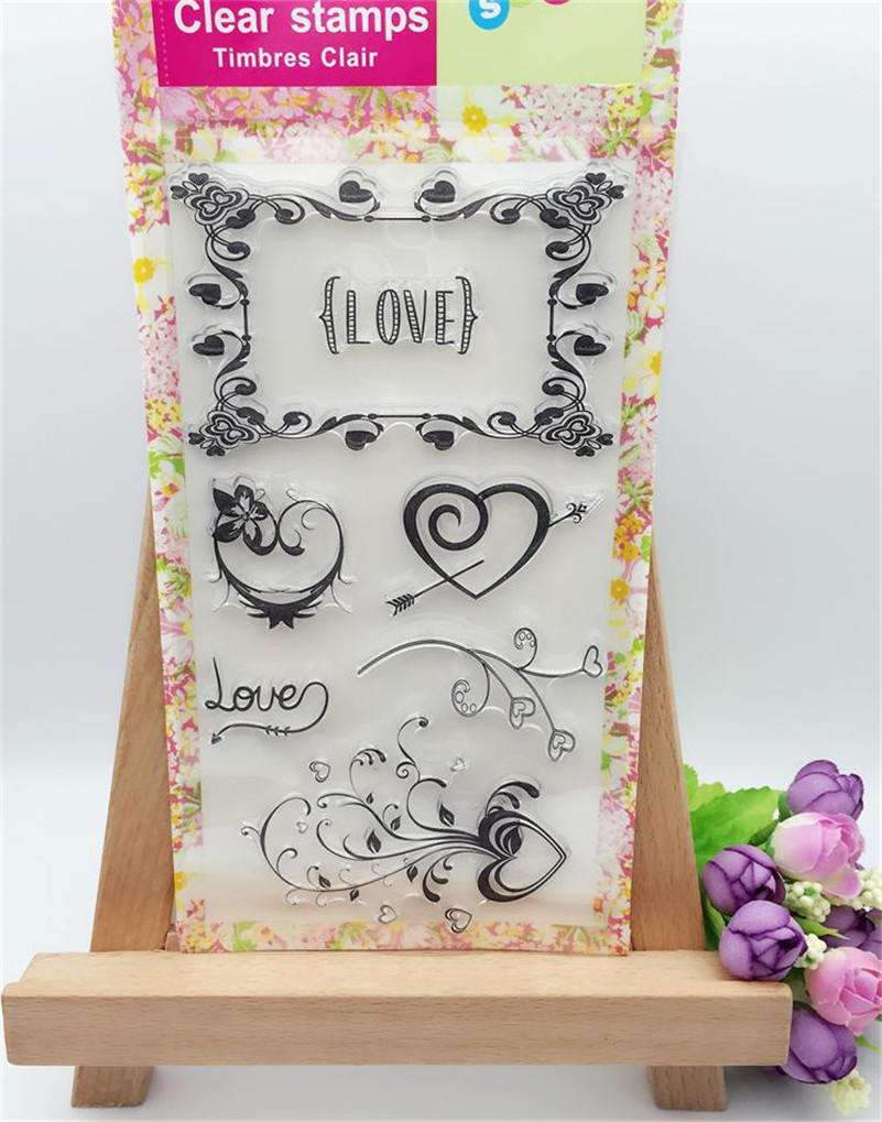 loving heart and lace design Clear Stamp Seal For DIY Scrapbooking Decorative Clear Stamp Sheets for wedding gift CL-256 loving heart and angel design for diy scrapbooking photo album transparent clear silicone stamp for wedding gift cl 131