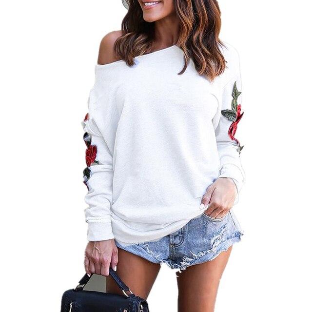 0790cfbdfcd1 hirigin Women's White T-shirt long sleeve Off Shoulder Tops T Shirt Casual  Cotton blend flower applique Loose t shirts women