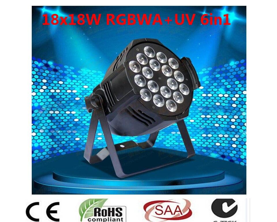 DJ Par Lattine Lattine Par RGBWA UV 6IN1 18X18 W LED Valutazione Impermeabile IP20 In Alluminio Alloggiamento Nero 90 V-240 V dj стойка athletic dj 6 desk