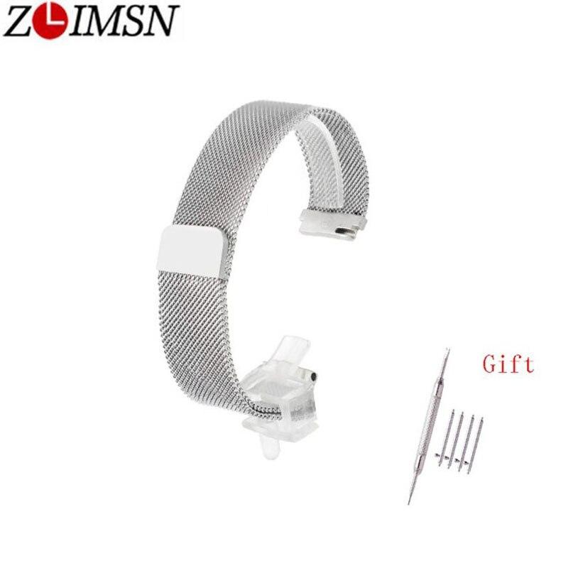 ZLIMSN Milan Stainless Steel Silver Black Mesh Universal Strap 18 20 22 Fast Release Magnetic Adjustable Buckle For Mens Women
