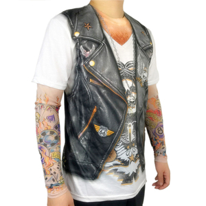 Image 2 - Halloween Party Funny Leather Vest Printed Biker T Shirts for Men Cool Rider Long Sleeve Tattoo Tee Halloween Costumes