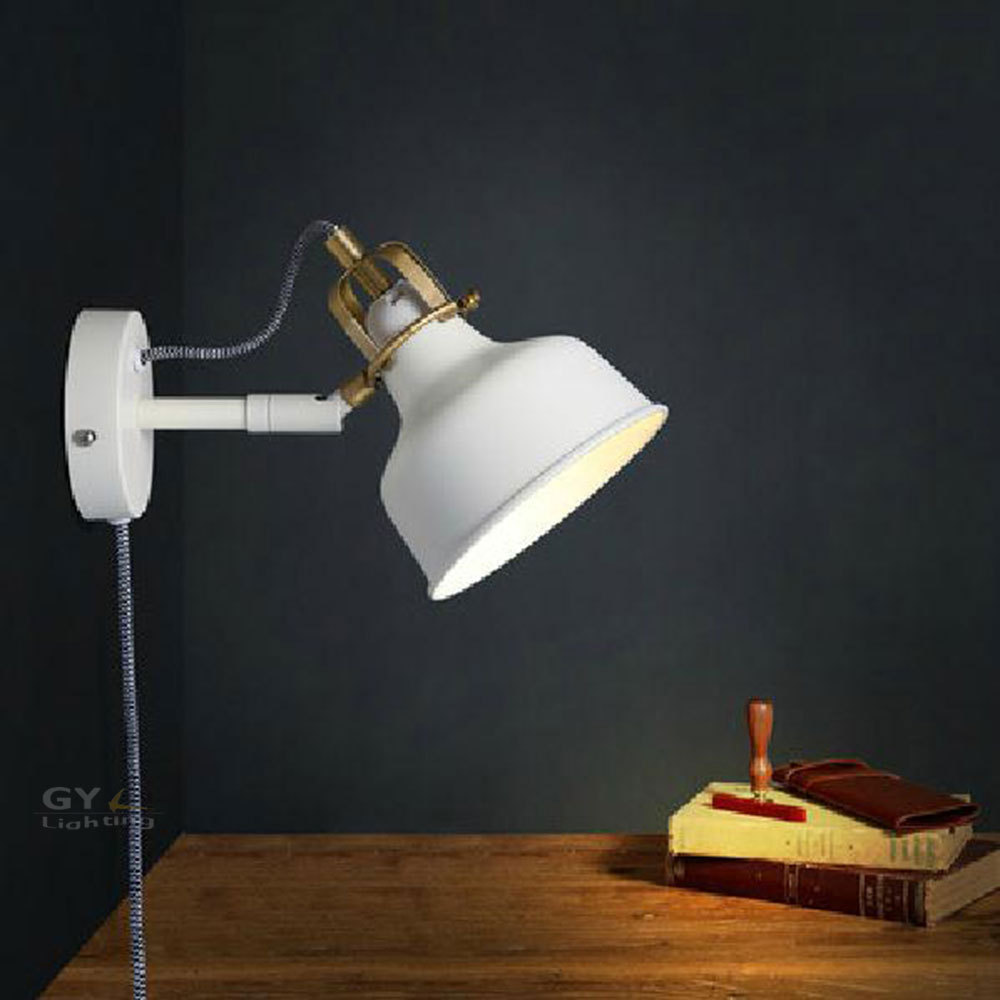 AC100-240V modern white wall lamp with plug power cord metal lampshade wall lights sconce bedside corridor room stairs lights modern lamp trophy wall lamp wall lamp bed lighting bedside wall lamp