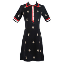 EIJOQAN Summer New Womens wear Sleeve head Short sleeve Crown embroidery Medium-length slim knitted dress A224