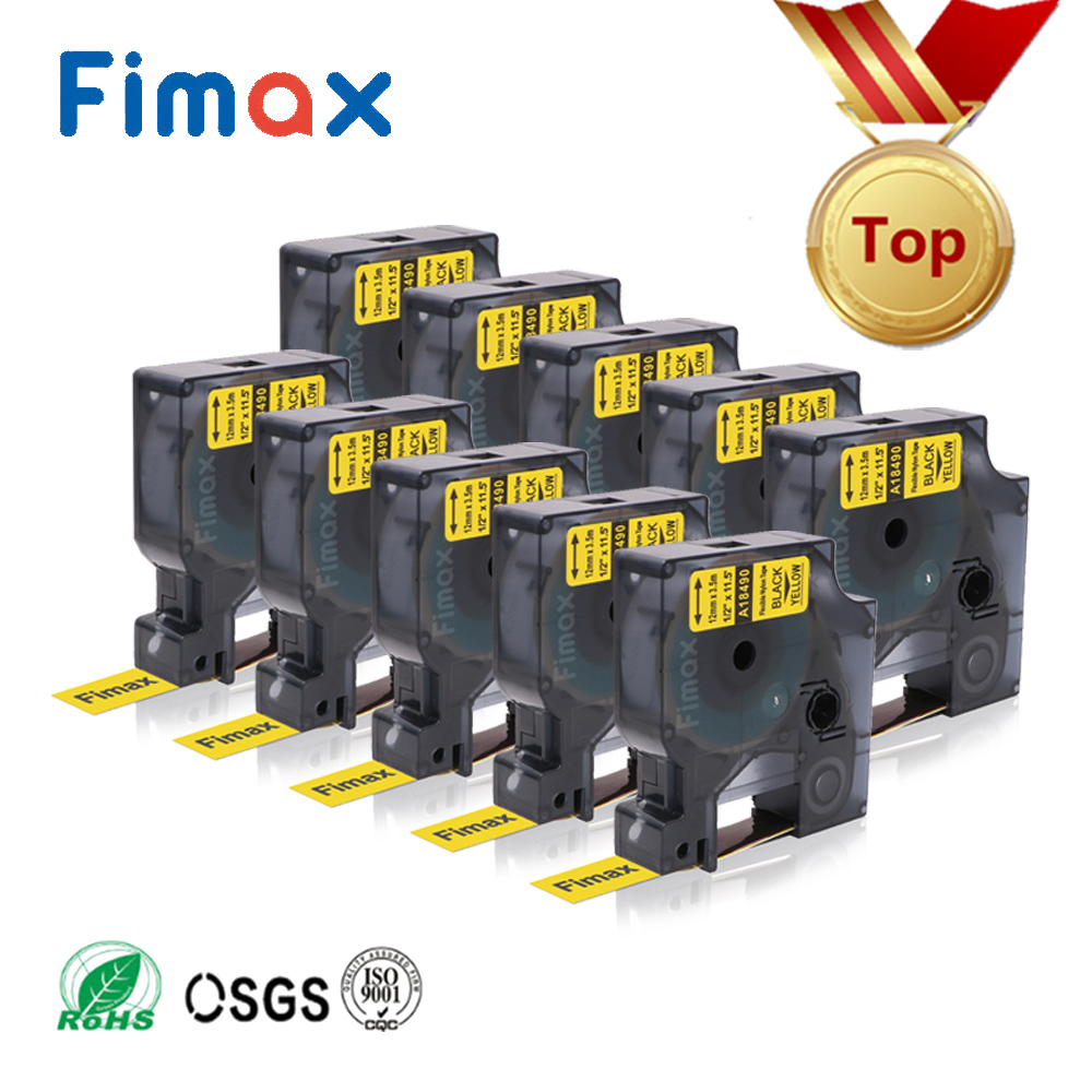 Fimax 10 Pcs 3 Size 18490 18488 Compatible for Dymo Rhino Flexible Nylon Label Tape 18489