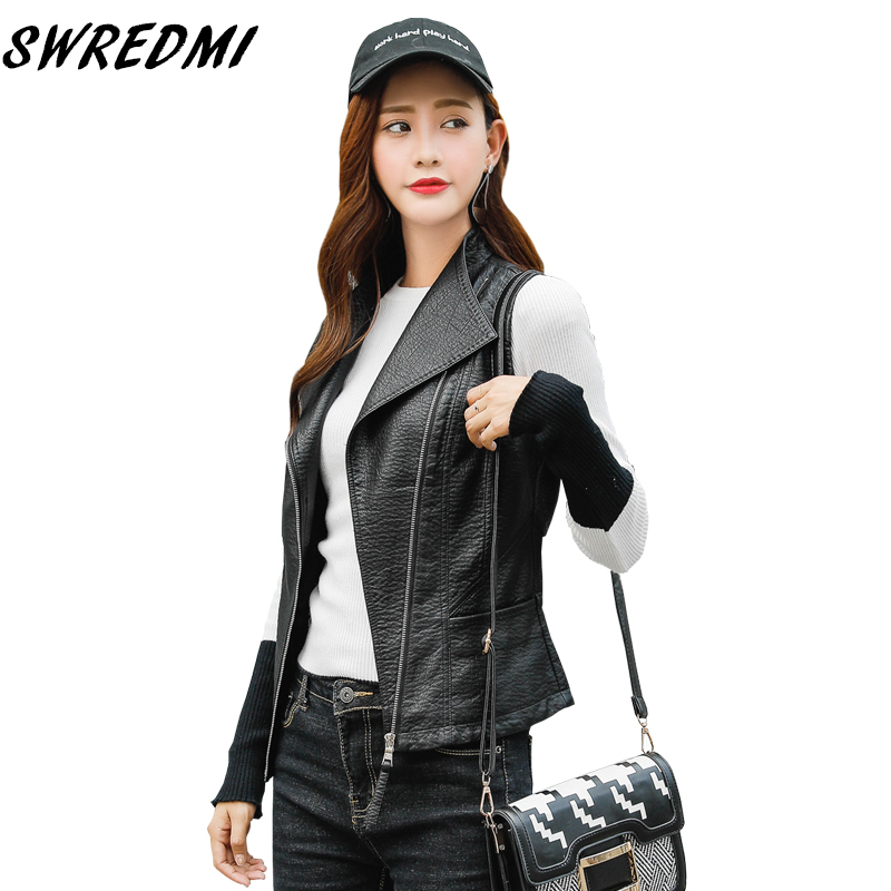 SWREDMI 2019 Spring Large Turn-down Collar Female   Leather   Vest Streetwear Sleeveless   Leather   Clothing Slim Casual   Leather   Tops