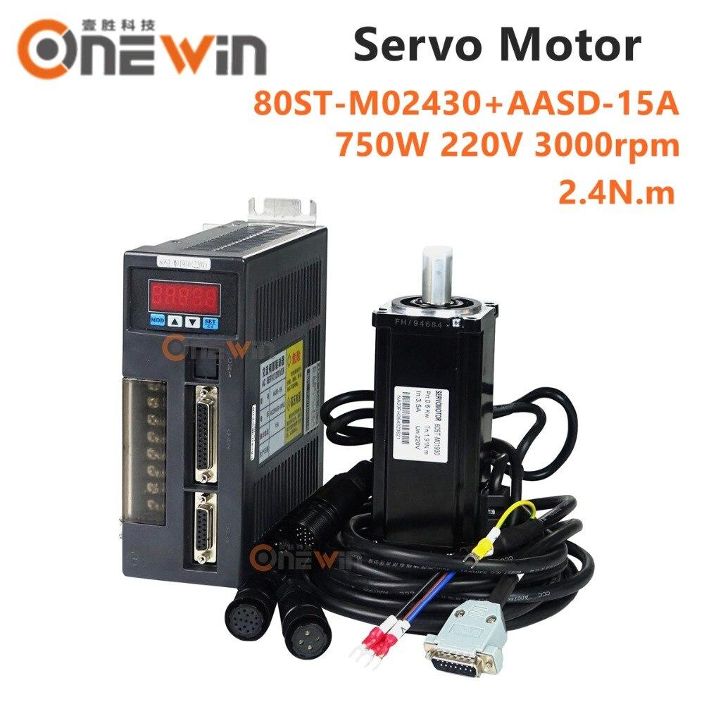 цена на 750W 220V AC servo motor driver kit 80ST-M02430+AASD-15A diameter 80mm 2.4NM 3000rpm magnet matched driver
