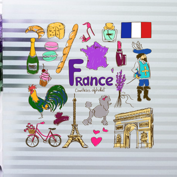 France Colorful Illustration Travel The Word Landmark Wall Sticker Wedding Decor Vinyl Waterproof Wallpaper