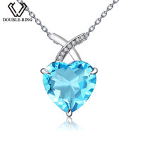 DOUBLE R Heart Natural Blue Topaz Pendant For Women Sliver 925 Pendant Real Gemstone Jewelry with Chain Birthday Gift Ladies