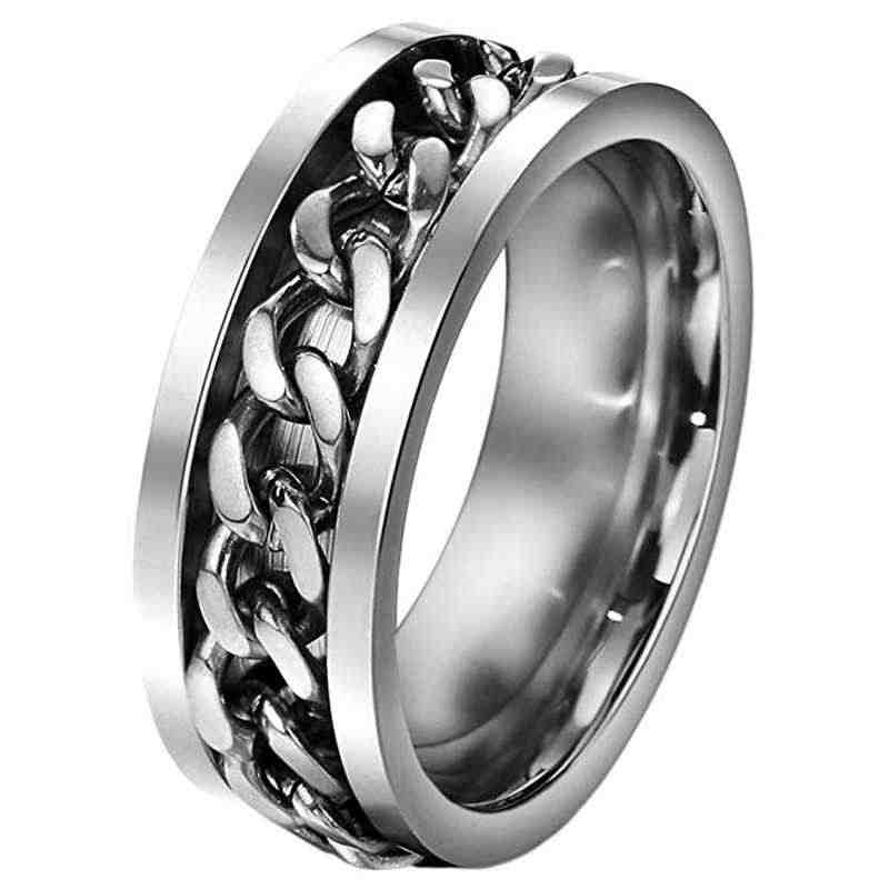 Punk rock men's ring 316L stainless steel gold black chain ring rotatable ring ladies fine-tuning ring couple wedding jewelry