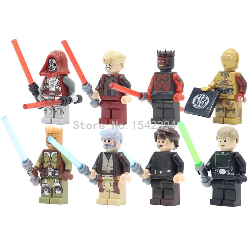 8pcs/lot PG8021 Star Wars Palpatine Sith Warrior Darth Maul C3PO Figures Minifigures Constructing Block Kids X'mas Reward Toys