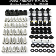For HONDA CBR600RR CBR 600RR 2003 2004 2005 2006 Complete Full Fairing Bodywork Screws Kit Faring Clips Nuts Stainless Steel complete fairing bolt nut screw kit for honda cbr600rr cbr 600 rr 2003 2006 2003 2004 2005 2006 fairing bolt screw accessories