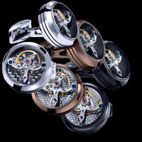 Free shipping Cufflinks Movement 3 colors option watch design rose gold plating hotsale copper cufflinks whoelsale&retail