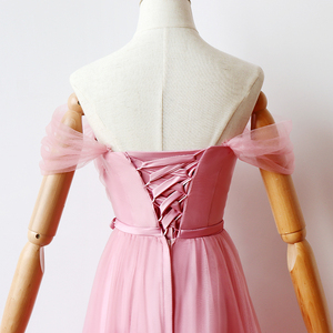 Image 5 - ציפוי פנימי אדום שעועית ורוד שושבינה שמלות אישה שמלות למסיבה וחתונה מקסי שמלה