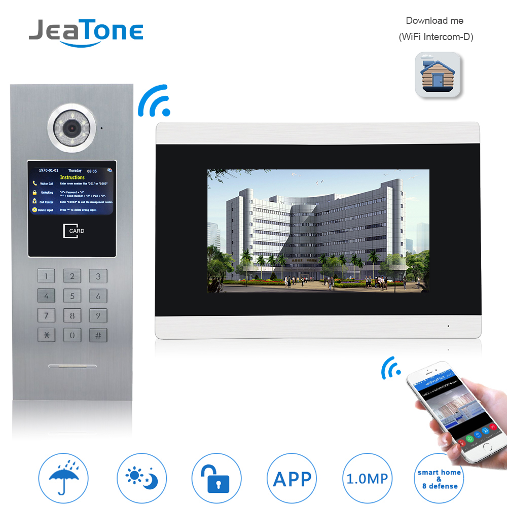 7''Touch Screen WIFI Video Door Phone IP Doorbell Intercom for Building Access Control System Support Password/IC Card/iOS Phone 7 inch password id card video door phone home access control system wired video intercome door bell