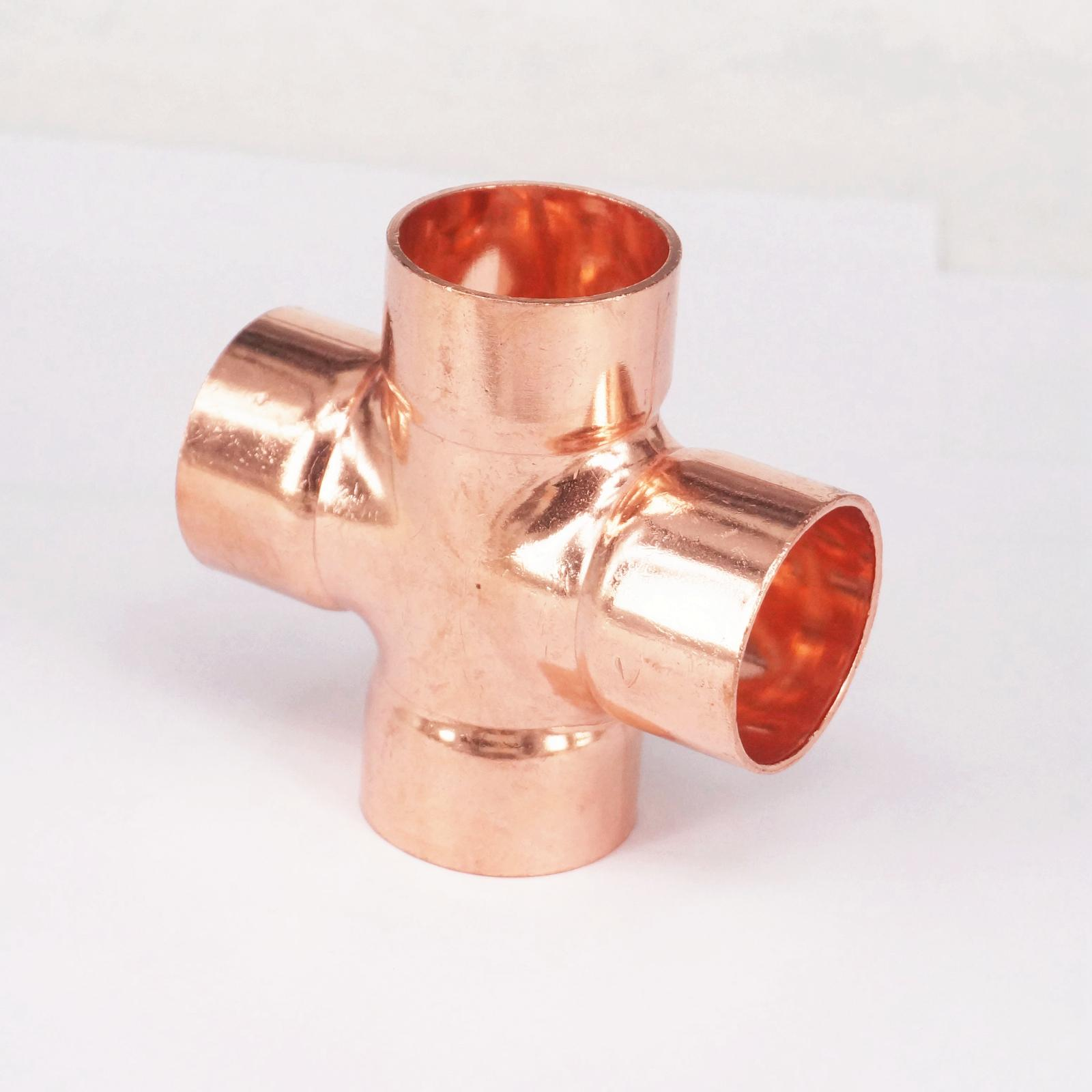 X Mm Copper End Feed Equal Cross Way Plumbing Pipe Fitting For Gas Water