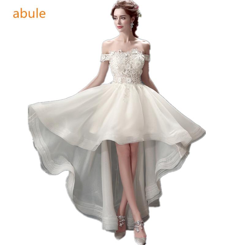 a9e5422281 Abule suknia ślubna 2018 koronki kwiat bez ramiączek frezowanie suknie  ślubne Przednia krótki powrót długi Vestidos De Noiva a-line suknie ślubne
