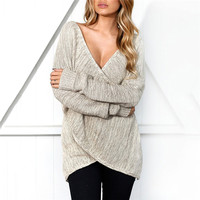 Women Sexy V Neck Cross Knitting Winter Sweater Women Autumn Pull Knit Casual Jumper Fashion Down Sleeve Pullover Female 2017