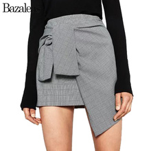 Bazaleas Europe A line Slim Mini Skirt Grey Tartan High Waist Skirt Fashion Saia Skirt Bow