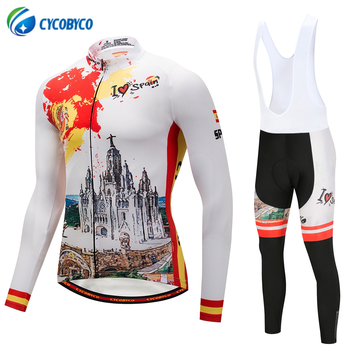 Cycobyco Long Sleeve Cycling Jersey Sets MTB Bicycle Clothing Mans Racing Bike Wear Quick dry Maillot Ropa Ciclismo Spain Style x tiger 2017 cycling jersey sets long sleeve mountain bike clothes wear maillot ropa ciclismo quick dry racing bicycle clothing
