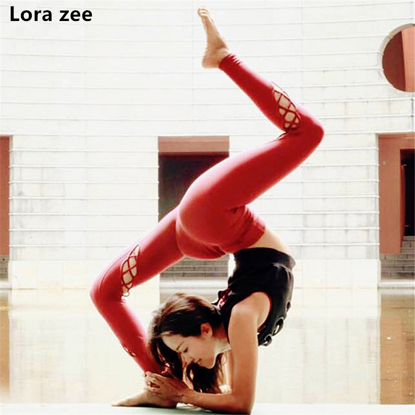 LORA ZEE 2018 Red High Waist Yoga Pants For Women Cutout Sport Leggings Compression Sportswear Push Up Exercise Gym Tights