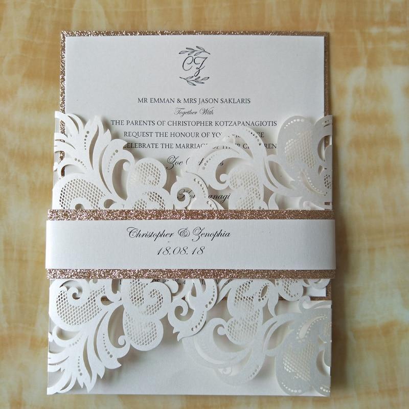 Luxury Glitter Gold Wedding Invitations Champagne Gold Laser Cut ...