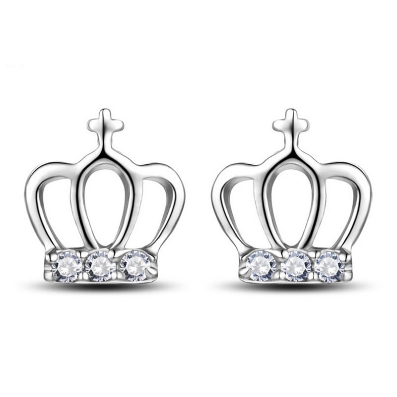 Us 1 58 40 Off Xiyanike 925 Sterling Silver Cross Princess Crown Earring For Women Earrings Jewelry Brincos Ves6289 In